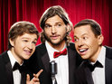 Ashton Kutcher, Jon Cryer and Angus T Jones deliver Letterman's Top 10 list.