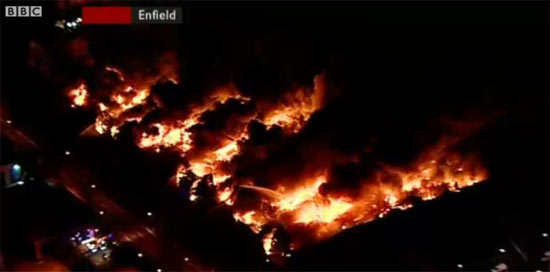 Sony Centre in Enfield engulfed by flames