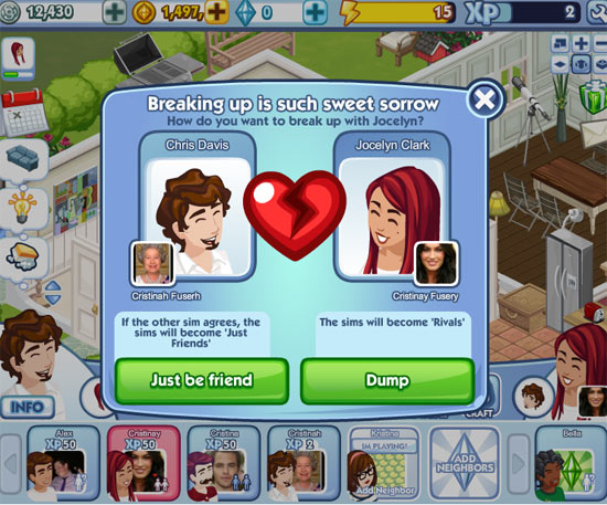 Screenshot of The Sims Social