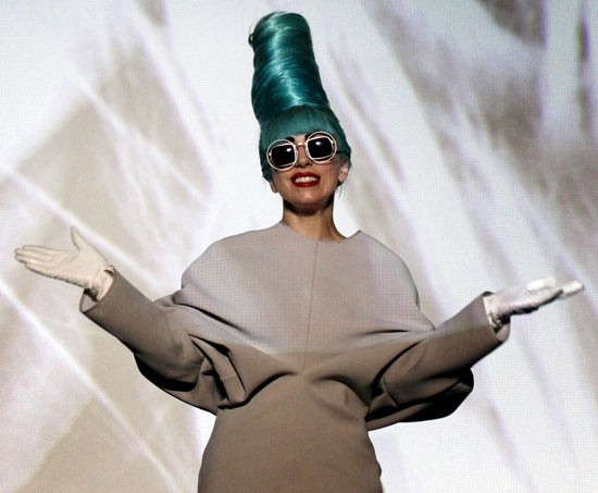 Lady Gaga wearing fashion student Rebecca Short's dress