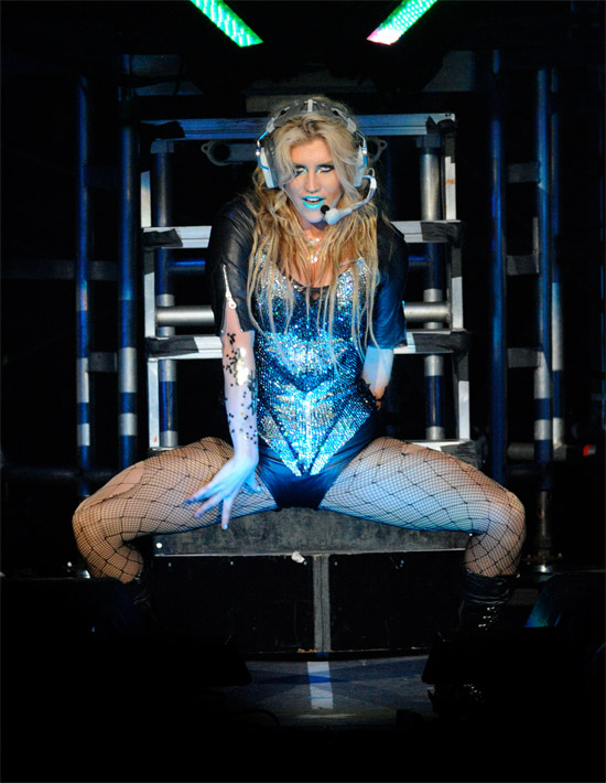 Ke$ha performs on stage during her 'Get Sleazy Tour' in Toronto, Canada