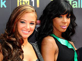 Tulisa Contostavlos and Kelly Rowland at The X Factor 2011 launch