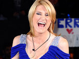 Sally Bercow has some words for the press as she enters the house.