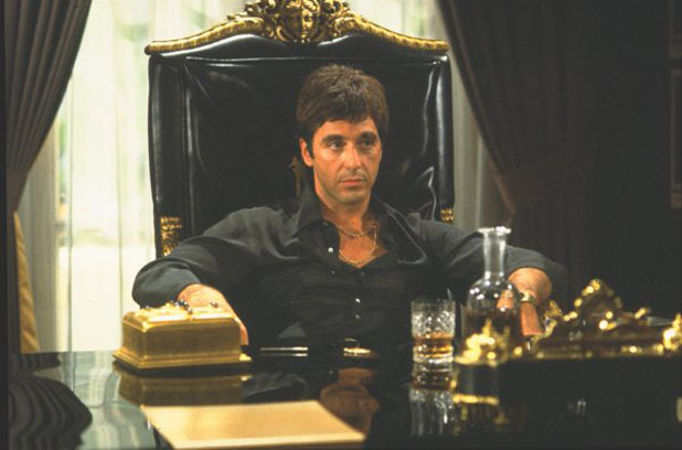 Tony Montana at his desk
