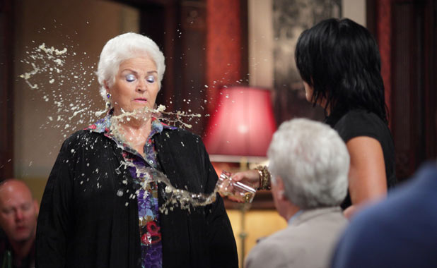 EastEnders - Kat Moon (Jessie Wallace) throws a drink at Pat Evans (Pam St. Clement)