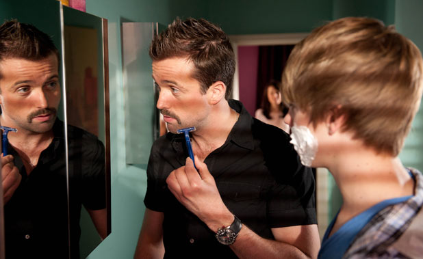 Hollyoaks - Brendan Brady (Emmett Scanlan) tries to give Declan Brady (Jay Duffy) shaving tips
