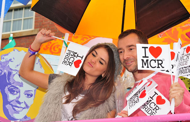 Brooke Vincent and Charlie Condou enjoy Manchester Pride 2011.