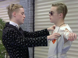 Jedward during bedsheet task