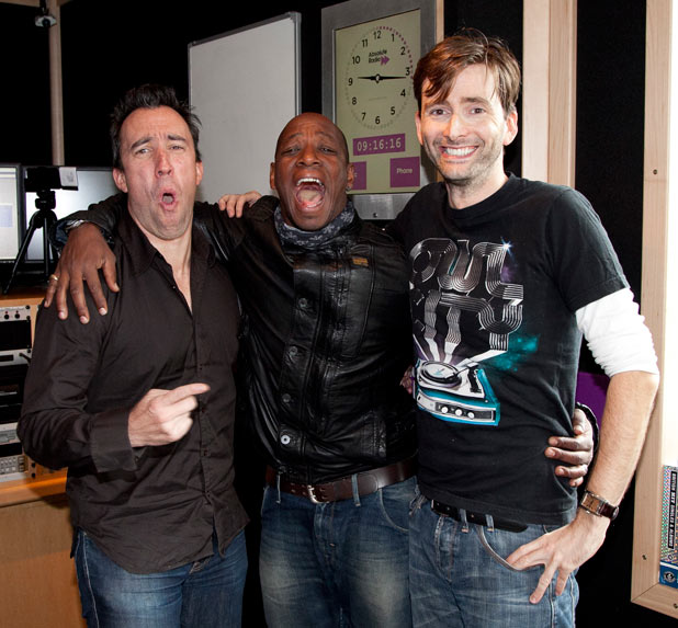 Ian Wright, Christian O'Connell and David Tennant at Absolute radio