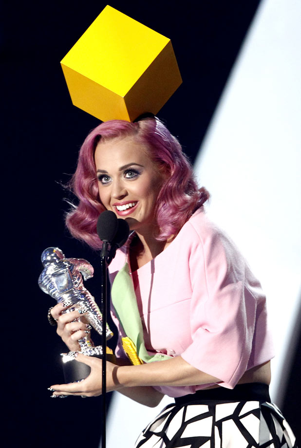 "Katy Perry accepts the award for video of the year for ""Firework"" at the MTV Video Music Awards"
