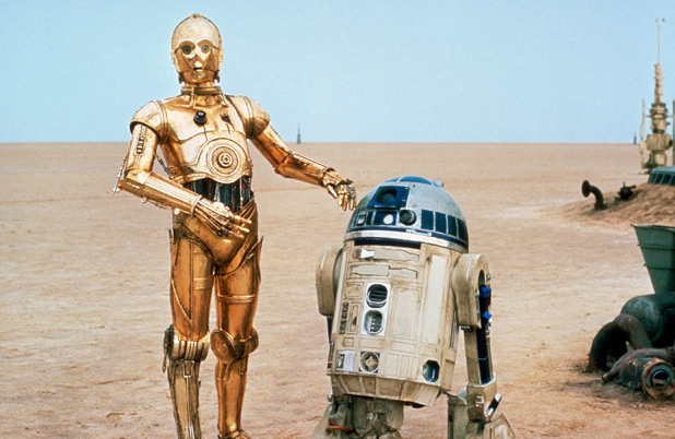 Droids C-3PO and R2-D2 on Tatooine.