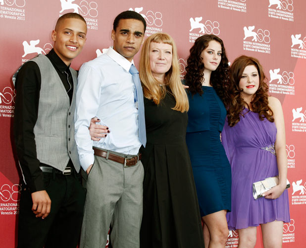 Kaya with co-stars Solomon Glave, James Howson, director Andrea Arnold and Shannon Beer