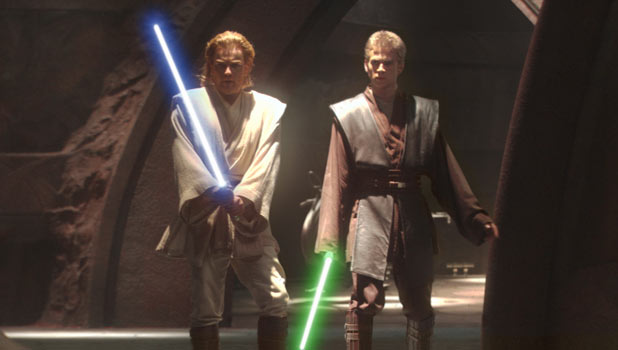 Obi-Wan and Anakin fire up their lightsabres