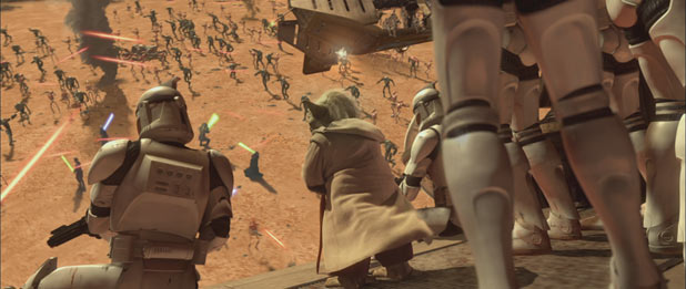Yoda leads the Clone Army into battle
