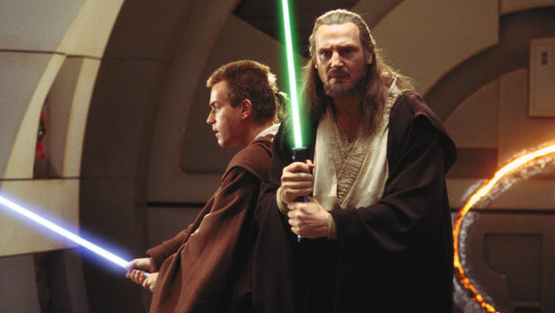 Qui-Gon Jinn (Liam Neeson) and Obi-Wan Kenobi (Ewan McGregor) in Star Wars Episode I: The Phantom Menace