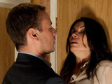 Frank is furious with Carla over her visiting the solicitor and slams her against a door