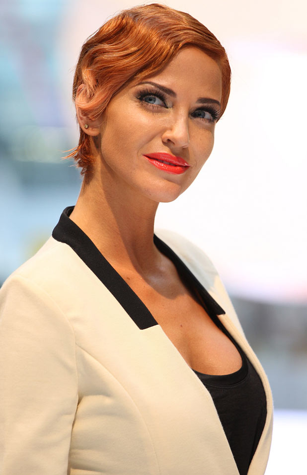 Sarah Harding debuts her new hair colour during London Fashion Week