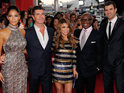 Simon Cowell, Paula Abdul, LA Reid, Nicole Scherzinger and Steve Jones attend the world premiere.