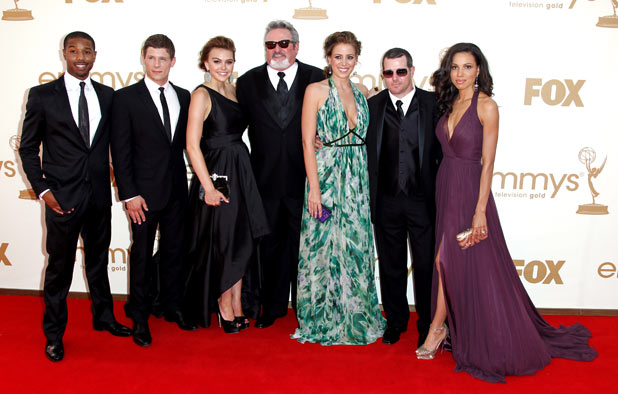 The cast of Friday Night Lights on the red carpet at the 63rd Primetime Emmy Awards