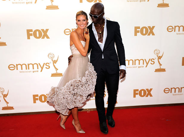 Heidi Klum, left, and Seal on the red carpet at the 63rd Primetime Emmy Awards