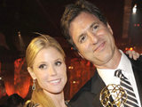 Julie Bowen, left, and Steven Levitan are seen at the 63rd Primetime Emmy Awards