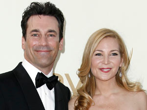 Jon Hamm and Jennifer Westfeldt on the red carpet at the 63rd Primetime Emmy Awards