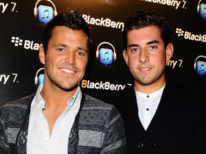 Mark Wright and James Argent arrive at the launch of the Blackberry 7 Smartphone collection at Sketch club in London.