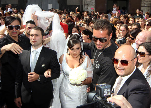 Bride wears three kilometer long wedding veil