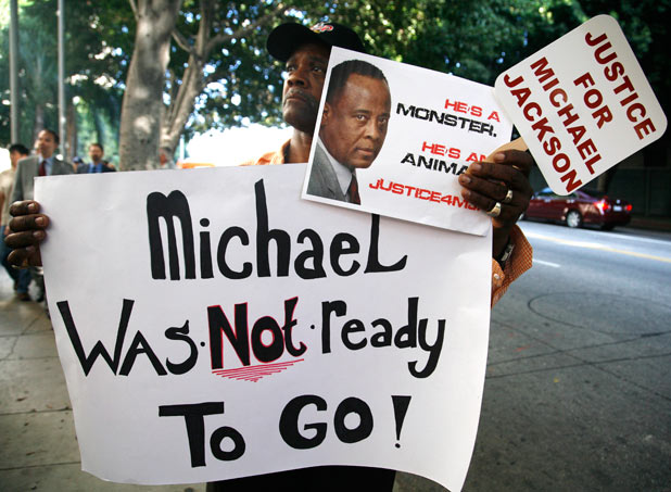 A Michael Jackson fan at the trial of Conrad Murray