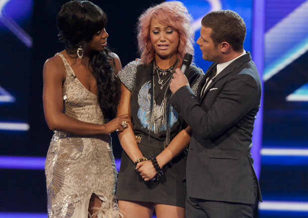 The X Factor 2011 Results Show - Kelly Rowland consoles Amelia Lily