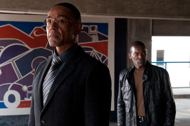 Breaking Bad S04E12 - Gustavo 'Gus' Fring (Giancarlo Esposito) and Tyrus Kitt (Ray Campbell)