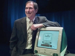 Steve Jobs unveils the the new iMac computer in 1998