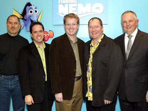 Steve Jobs alongside Lee Unkrich, Andrew Stanton, John Lasseter and Richard Cook at a screening of Disney Pixar's 'Finding Nemo' in 2003. Jobs acquired Pixar in 1986