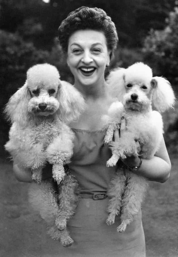 Betty Driver holding her pet poodles Mitzi (left) and Tina, at her home in Hendon, London in 1955
