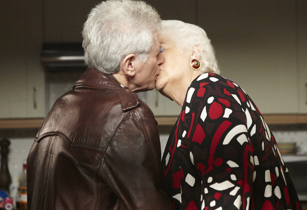 EastEnders - Pat Evans (Pam St Clement) and Norman Simmonds (George Layton)