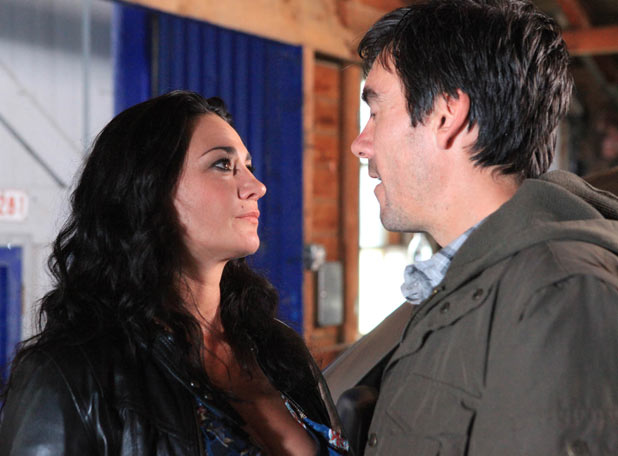Emmerdale - Moira Barton (Natalie J Robb) and Cain Dingle (Jeff Hordley)