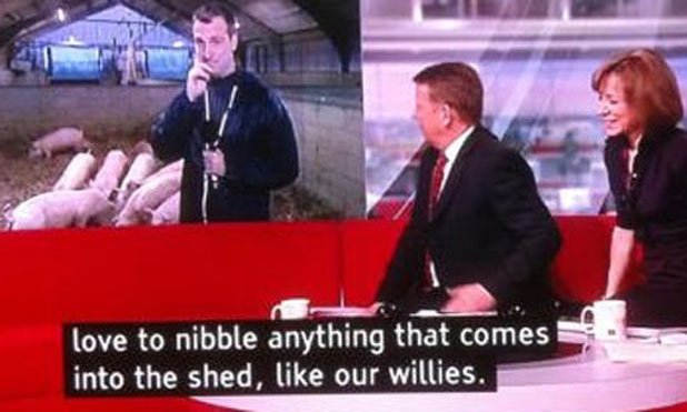 A subtitle error on the BBC Breakfast news
