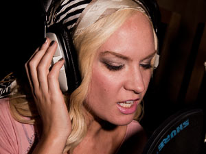 Kitty Brucknell recording 'Wishing On A Star' the X Factor charity single