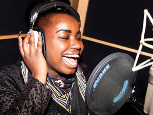 Misha Bryan recording 'Wishing On A Star' the X Factor charity single