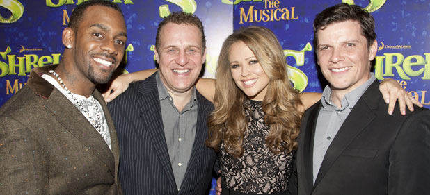 Richard Blackwood (Donkey), Nigel Lindsay (Shrek), Kimberley Walsh (Princess Fiona) and Nigel Harman (Lord Farquaad) at Shrek press night