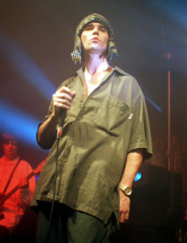 Ian Brown during a Stone Rosees performance