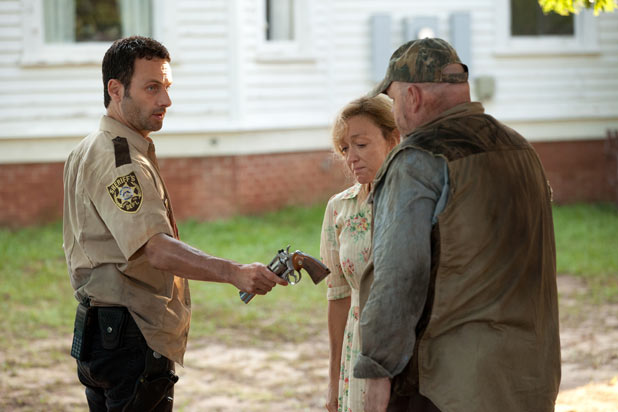 Rick Grimes (Andrew Lincoln), Patricia (Jane McNeill) and Otis (Pruitt Taylor Vince)