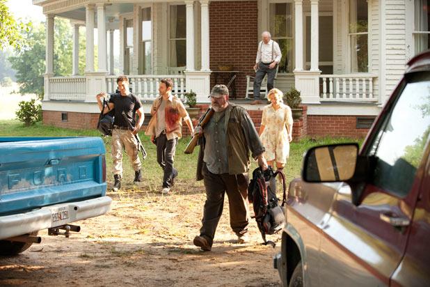 Shane Walsh (Jon Bernthal), Rick Grimes (Andrew Lincoln), Otis (Pruitt Taylor Vince), Patricia (Jane McNeill) and Hershel Greene (Scott Wilson)