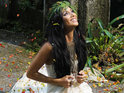 Nicole Scherzinger plays piano in a Mexican rainforest for her new music video.