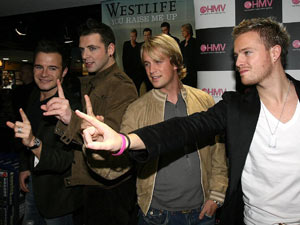 Westlife promote their new album Face to Face in Dublin, 2005