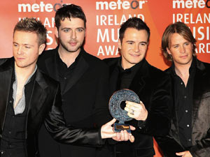 Westlife with their award for Best Irish Pop Act during the annual Meteor Ireland Music Awards, at the Point Depot, Dublin, 2006