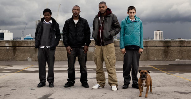 Ra&#39;nell (Malcolm Kamulete), Dushane (Ashley Walters), Sully (Kane Robinson) & Gem (Giacomo Mancini). in &#39;Top Boy&#39;