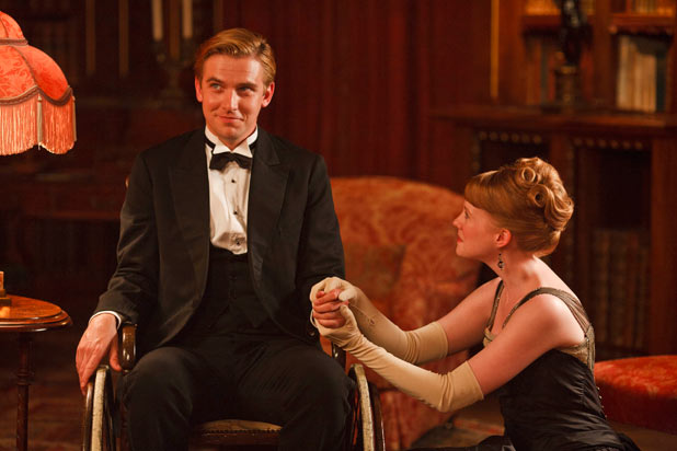 DAN STEVENS as Matthew and ZOE BOYLE as Lavinia Swire.