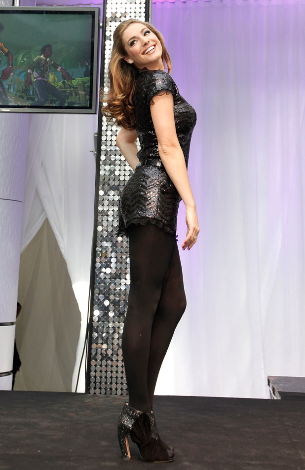 Kelly Brook, sparkles in an all in one sequined playsuit