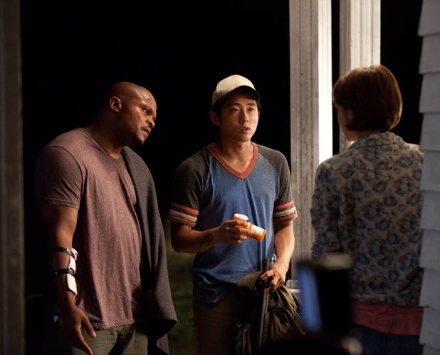 T-Dog (Robert 'IronE' Singleton), Glenn (Steven Yeun) and Maggie Greene (Lauren Cohan)